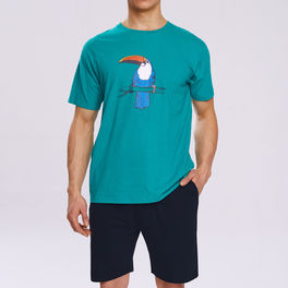piżama komplet, z nadrukiem <br> zielony, NMP-317 Atlantic