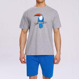 piżama męska komplet z nadrukiem <br> szary melanż, NMP-317 - Atlantic