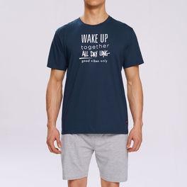piżama komplet <br> granatowy, NMP-310 Atlantic