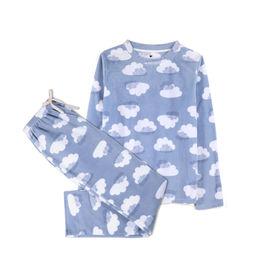 piżama komplet, chmury <br> niebieski jasny, NLP-458 - Atlantic