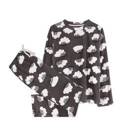 piżama komplet, chmury <br> grafitowy, NLP-458 - Atlantic