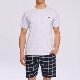 piżama komplet <br> szary melanż, NMP-313 - Atlantic Atlantic