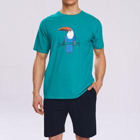 piżama męska komplet z nadrukiem <br> zielony, NMP-317 - Atlantic