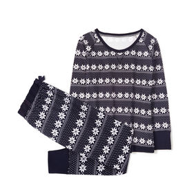 piżama damska komplet z nadrukiem <br> granatowy, NLP-459 - Atlantic