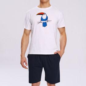 piżama komplet, z nadrukiem <br> biały, NMP-317 - Atlantic