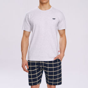 piżama komplet <br> szary melanż, NMP-313