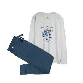 piżama męska komplet <br> grafitowy, NMP-306 - Atlantic