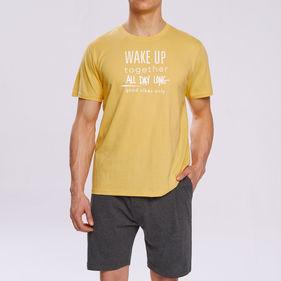 piżama męska komplet <br> żółty, NMP-310 - Atlantic